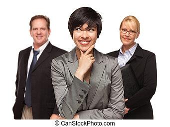 Businesswoman with Team Portrait on White