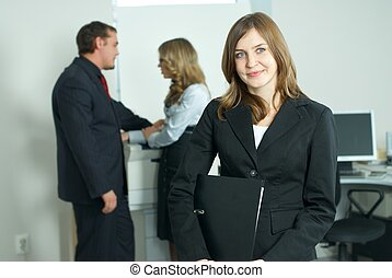 Businesswoman with team