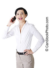 Businesswoman with the mobile phone