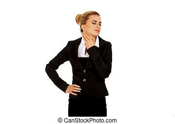 Businesswoman with throat pain