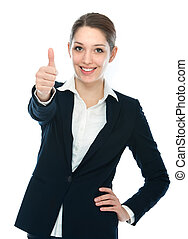businesswoman with thumb up - Beautiful young businesswoman...