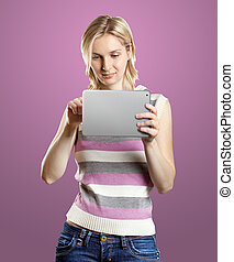 Businesswoman With Touch Pad