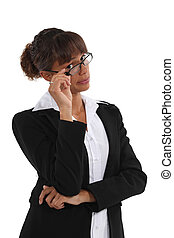 Businesswoman with unimpressed look on face