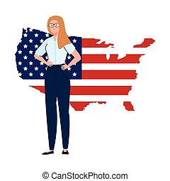 businesswoman with usa flag map vector design