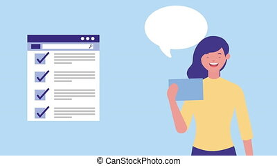 businesswoman with webpage template and speech bubble ,4k...