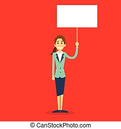 Businesswoman With White Board, Signboard, Showing An Empty...
