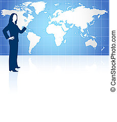 Businesswoman with world map