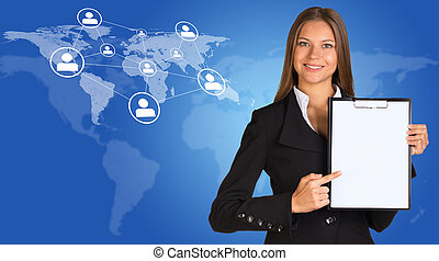 Businesswoman with world map, network and people icons -...