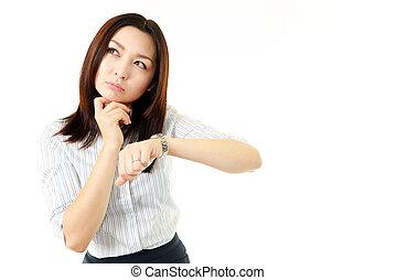 Businesswoman with wrist-watch