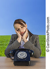 Businesswoman Woman Waiting for Old Vintage Telephone Call