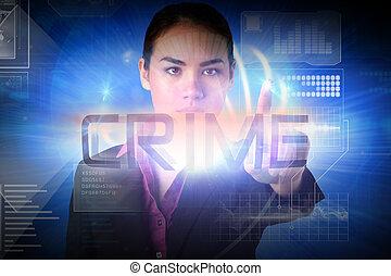 businesswoman, woord, het voorstellen, misdaad