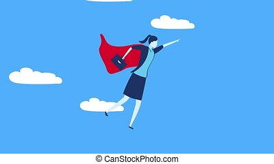 businesswoman worker hero flying character ,4k video animation