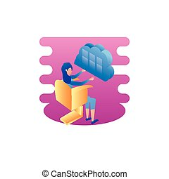 businesswoman worker with cloud computing