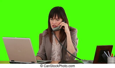 Businesswoman working at her desk with a laptop and a phone