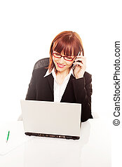 Businesswoman Working At Laptop On Mobile