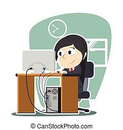 businesswoman working illustration design
