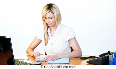 Businesswoman working in office footage - Busy blonde...