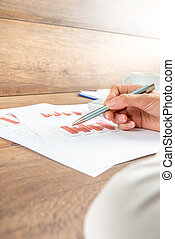 Businesswoman working on a report