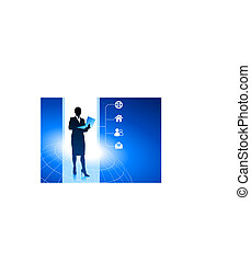 Businesswoman working on computer with internet icon background