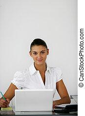 businesswoman working on her desk