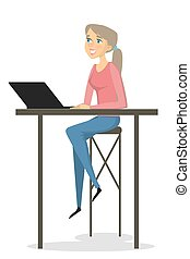 Businesswoman working on laptop.
