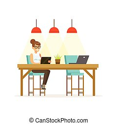 Businesswoman working using a tablet in the open space office vector Illustration
