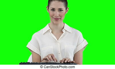 Businesswoman working with a virtual keyboard
