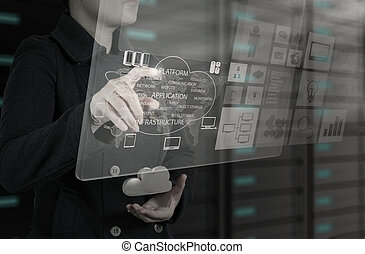 businesswoman working with new interface computer graph