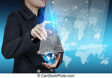 businesswoman working with new modern computer show social netwo