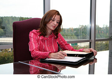 Businesswoman Writing a Proposal