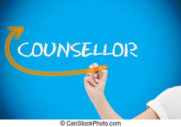 Businesswoman writing the word counsellor against blue...