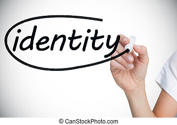 Businesswoman writing the word identity against white...