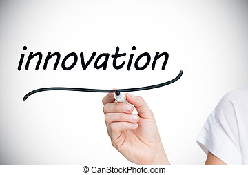 Businesswoman writing the word innovation against white...