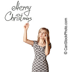 businesswoman writting Merry Christmas isolated on white background