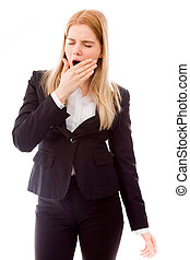 Businesswoman yawning - Young adult caucasian woman isolated...