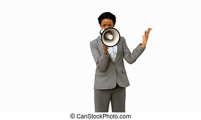 Businesswoman yelling into a megaphone on white screen in...