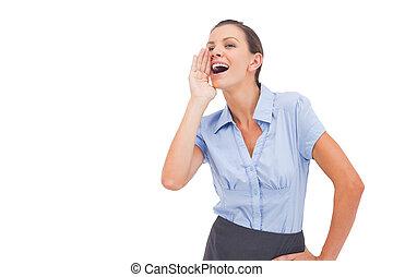 Businesswoman yelling message