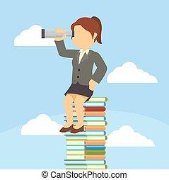 businesswoman, zittende , op, stapel, van, boek