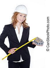 businesswoman, zollstock