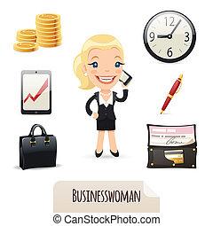 businesswomans, セット, アイコン