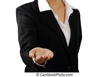 Businesswoman's hand palm up isolated clipping path.