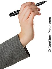 Businesswomans hand writing with marker