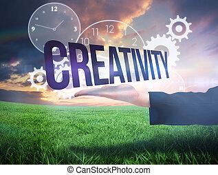 businesswomans, mano, presentare, il, parola, creatività