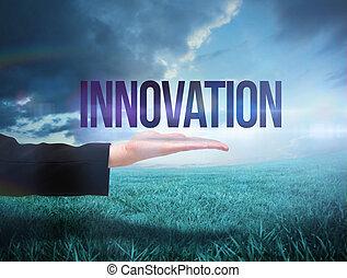businesswomans, mano, presentare, il, parola, innovazione