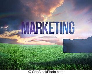 businesswomans, mano, presentare, il, parola, marketing
