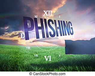 businesswomans, mano, presentare, il, parola, phishing
