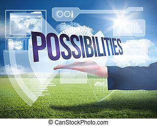 businesswomans, mano, presentare, il, parola, possibilites