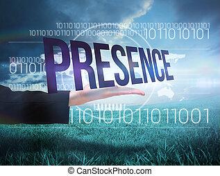 businesswomans, mano, presentare, il, parola, presenza
