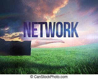 businesswomans, mano, presentare, il, parola, rete