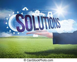 businesswomans, mano, presentare, il, parola, soluzioni